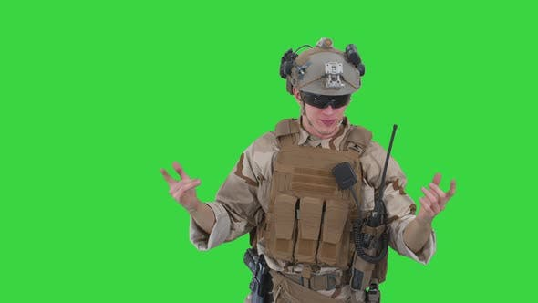Talking Emotionaly Soldier Complaiting About Something on a Green Screen, Chroma Key.