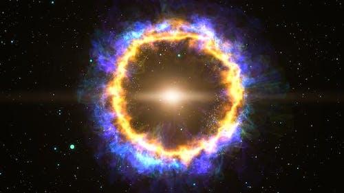 Orbiting Active Blue Yellow Planetary Nebula Seamless Loop
