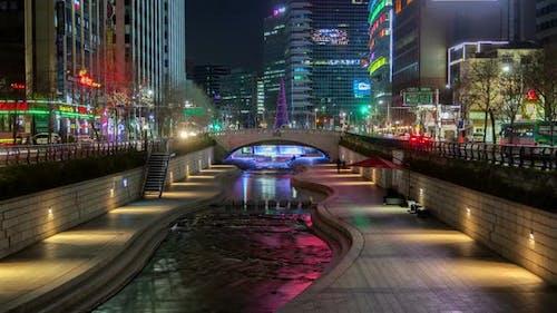 Aerial Illuminated Cheonggyecheon in Korea, Seoul