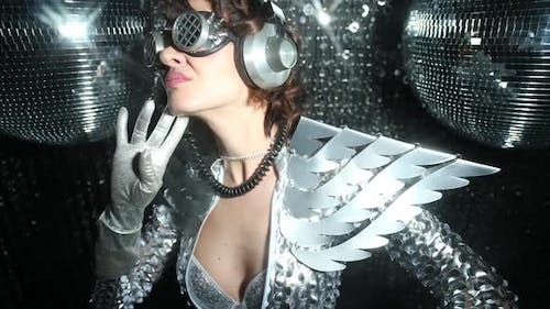 silver wings costume party music sexy disco female gogo