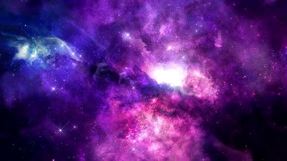 Colorful Flight into the Space Nebula