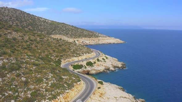 Thumbnail for Curved Mediterranean Asphalt Road Along Coast Oludeniz Turkey
