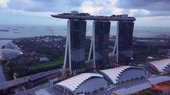 Marina Bay and Garden By the Bay Aerial View in Singapore