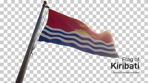 Thumbnail for Kiribati Flag on a Flagpole with Alpha-Channel
