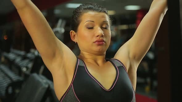 Thumbnail for Motivated Strong Female Doing Pulldown Exercises, Working Hard at Sports Club