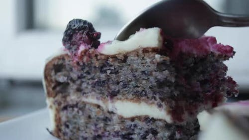 Selective Focus of Delicious Cake with Blackberries