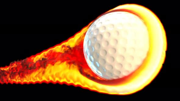 Thumbnail for Flying golf ball on fire on a black background
