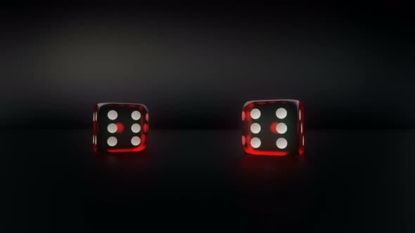 Thumbnail for Pair Of Red Glass Casino Dice Roll Slow Motion Result Pair Of Five
