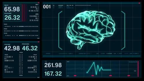 Futuristic Digital Screen HUD Brain Data, Medical Background