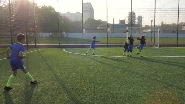 Skillful Young Footballer Scoring From Penalty