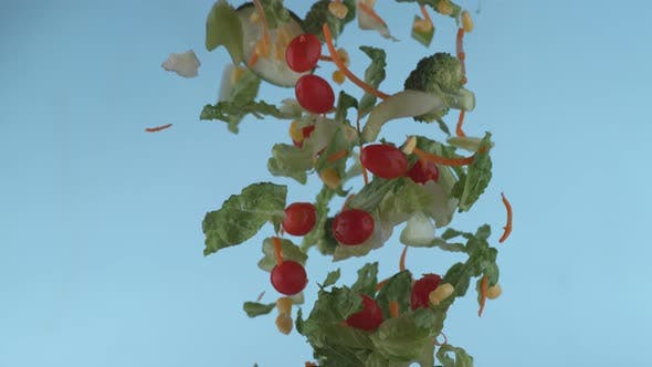 Thumbnail for Salad flying in slow motion, shot with Phantom Flex 4K at 1000 frames per second