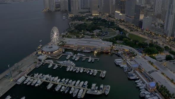 Twilight Footage Bayside Miami 4k
