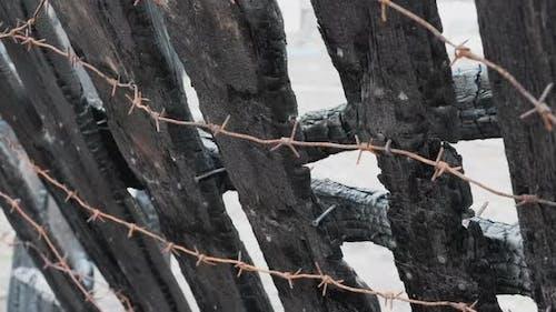 Verbrannter Zaun mit Stacheldraht