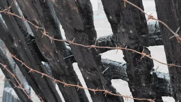 Thumbnail for Burnt Fence with Barbed Wire