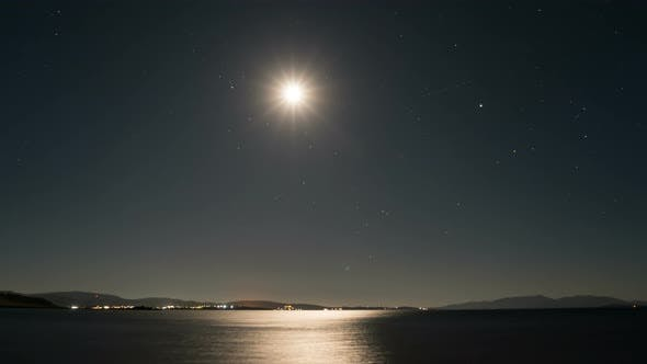 Thumbnail for Time Lapse of Full Moon Reflecting Off Sea Water and Creating Moon Path in Lemnos, Greece