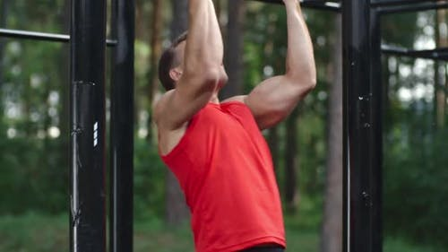 Doing Bodyweight Chin-Ups Outdoor