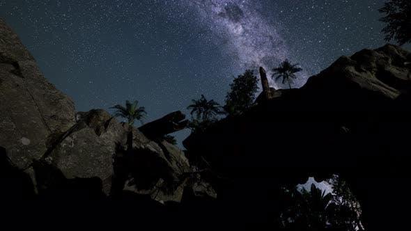 Milky Way Galaxy Over Sandstone Canyon Walls