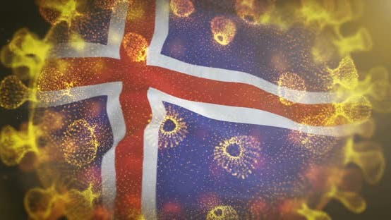 Iceland Flag With Coronavirus Microbe Centered