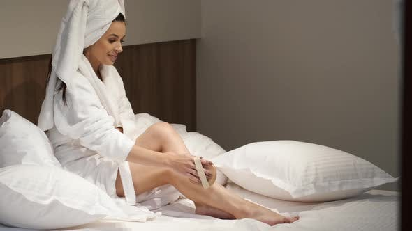 Thumbnail for Woman Taking Care Her Body After Bath
