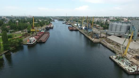 Thumbnail for Aerial Shot of Dnipro Tributory Full of Barges and Boats on a Sunny Day in Summer