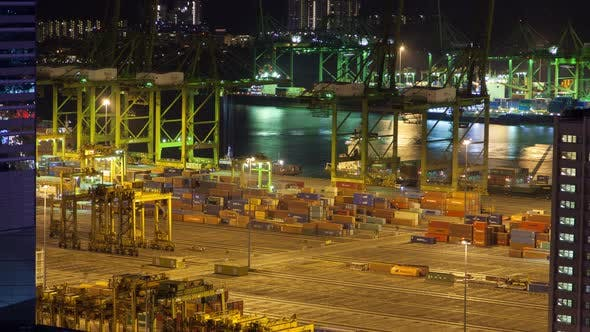Thumbnail for Singapore Night Container Port Logistics