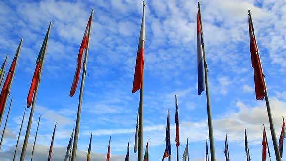 Group of Flags on the Flagpole