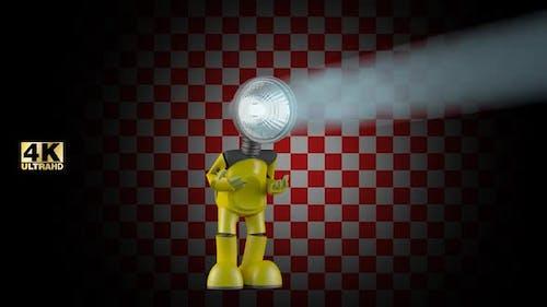 Lustiger Android Roboter bewegliches Licht
