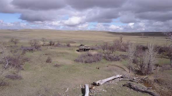 Aerial Drone of Great Plains Abandoned Farmstead Homestead and Pioneer Settlement in United States