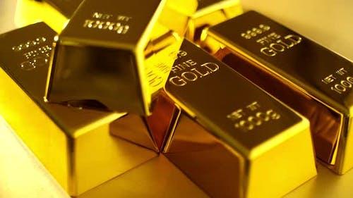 Stapel Goldbarren. Finanzielle Konzepte.