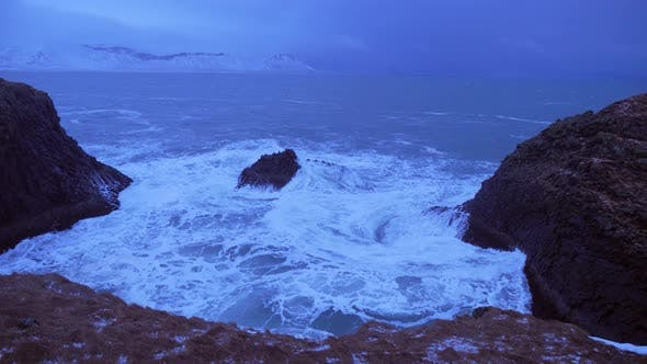 Thumbnail for Iceland Rough Ocean Water Crashes Against Large Cliffs In Arnarstapi 5
