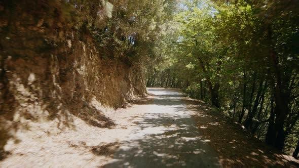 Mountain Street with Car in Aspromonte Calabria mountain
