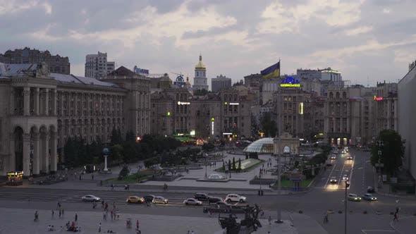 Independence Square. Maidan. Kyiv. Ukraine. Time Lapse