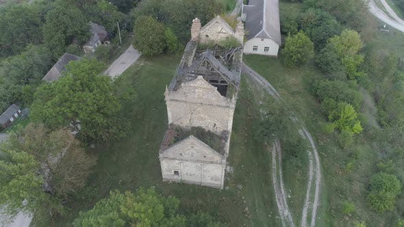 Thumbnail for Aerial view of a destroyed building