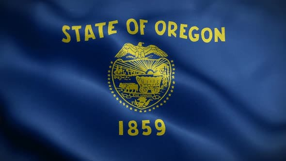 Oregon State Flag Blowing In Wind