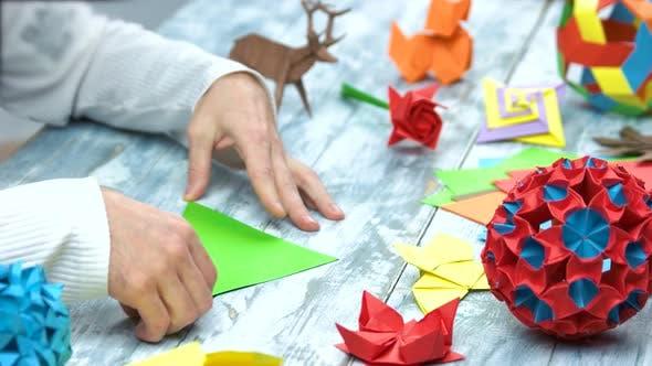 Man at Origami Folding Lesson