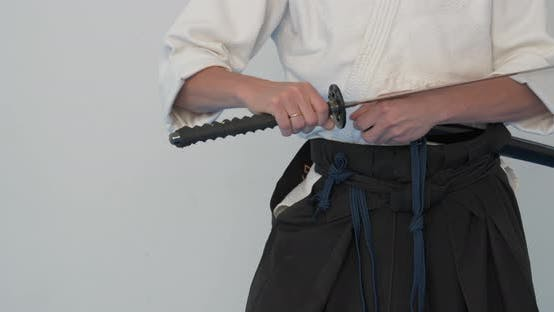 Thumbnail for Iaido Master Practice. Martial Arts Demonstration in Dodjo