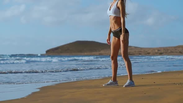 Thumbnail for Young Beautiful Sexy Woman Doing Sports on Beach, Sunrise, Morning Exercises, Healthy Lifestyle