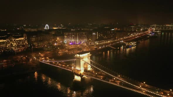Cover Image for Night Aerial View Bridge Budapest City