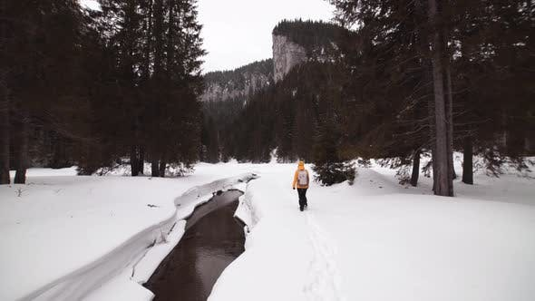 Person Walking on Snow in the Nature with Mountain in the Background