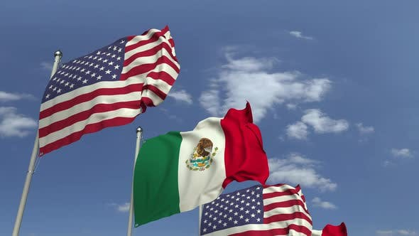 Thumbnail for Waving Flags of Mexico and the USA