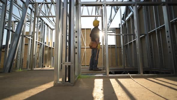 Skeleton Steel Construction Worker
