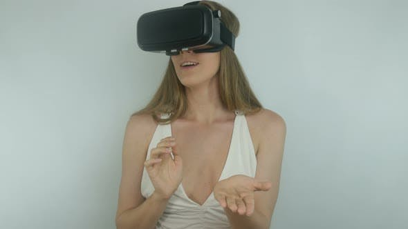 Thumbnail for Sexy Young Girl And Modern Virtual Reality Technology