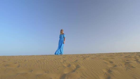 Woman on beach skyline