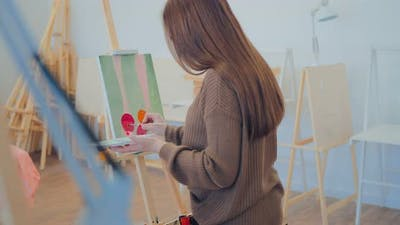 Girl is Learning to Paint a Still Life