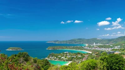 Andaman sea and three bays at Karon Viewpoint, Phuket, Thailand - Time Lapse