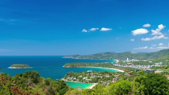 Andaman sea and three bays at Karon Viewpoint, Phuket, Thailand - Time Lapse