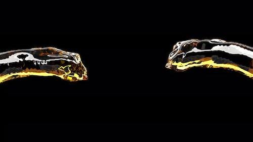 Beer Streams Collide on Black Cold Alcohol Liquid Drink Super Slow Motion 1000 Fps