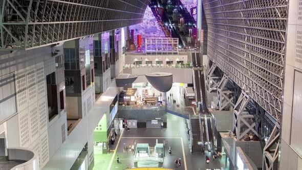 Kyoto Railway Terminal Hall with Escalators Timelapse