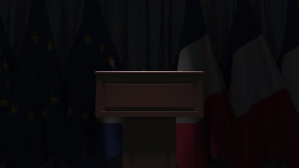 Flags of France and the European Union