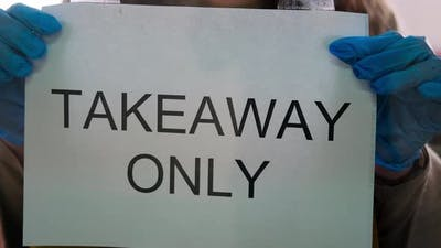 Takeaway Only Notice on the Cafe Entrance Door